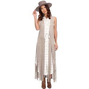 BB Dakota   Ripley Fringe Vest Long Faux Suede L